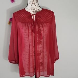 Lucky Brand Red Sheer Chiffon Blouse